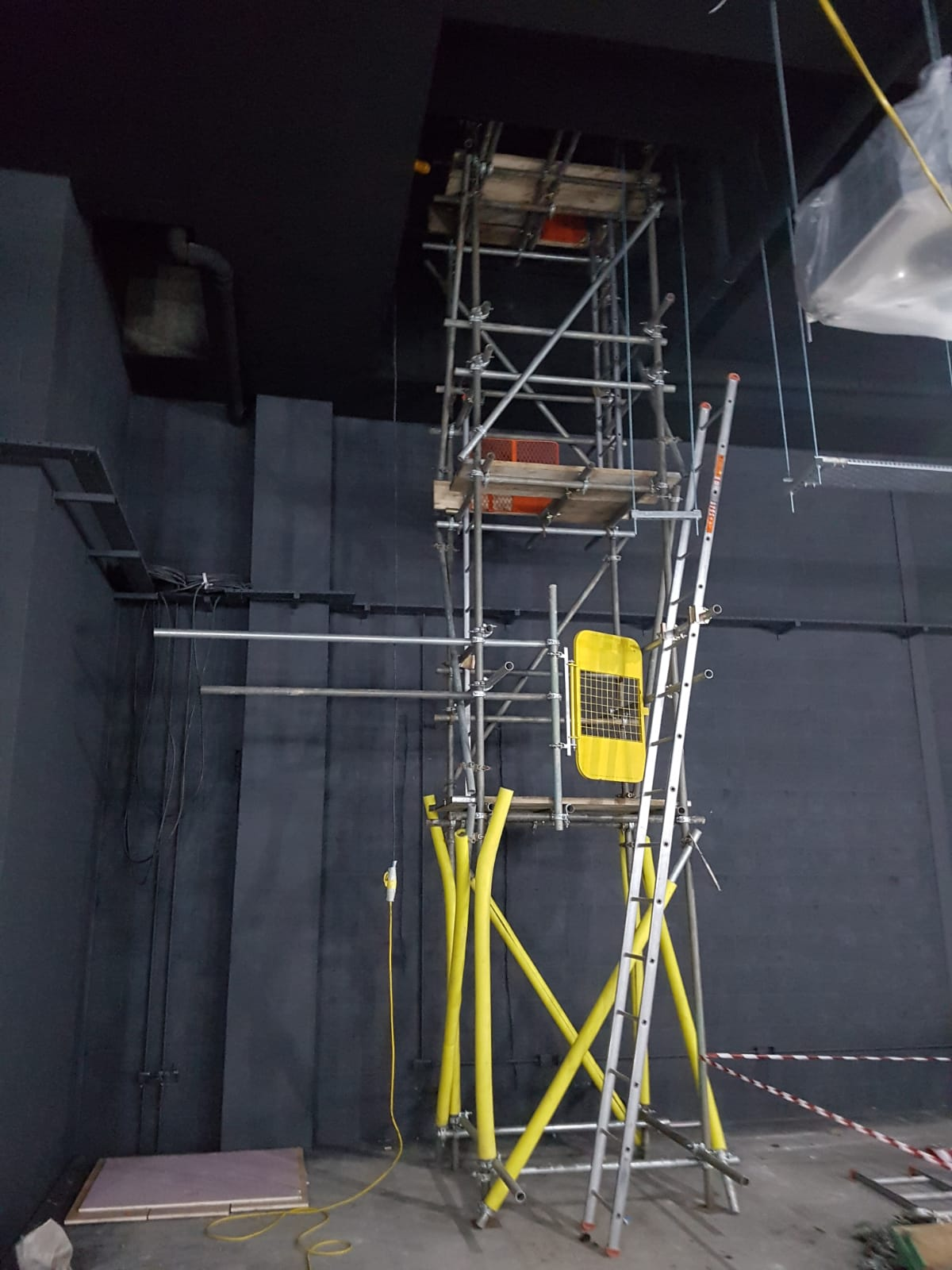 Tower with internal ladders and boarded on every lift.